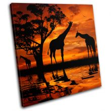 Giraffe African Sunset Animals - 13-1790(00B)-SG11-LO